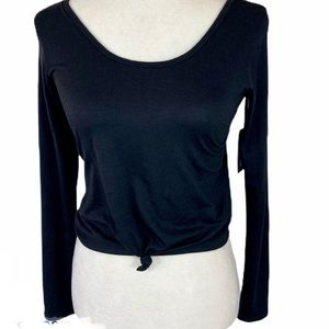 Onzie Tops - Onzie flow black long sleeve knotted S/M crop top